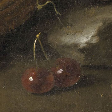 A close-up renaissance style painting of cherries that are styled in this website to look like a button