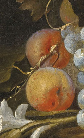 A close-up renaissance style painting of two peaches that are styled in this website to look like a button