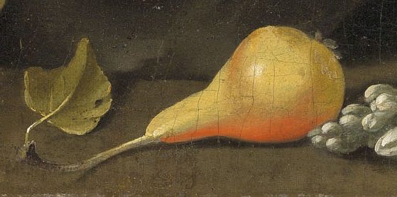 A close-up renaissance style painting of a pear that is styled in this website to look like a button
